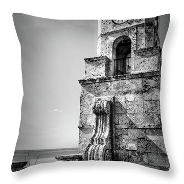 Palm Beach Clock Tower In Black And White Throw Pillow