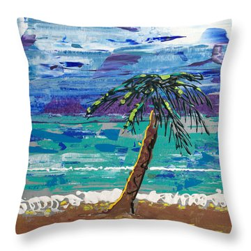 Throw Pillow featuring the painting Palm Beach by J R Seymour