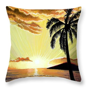 Palm Beach Sunset Throw Pillow