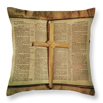 Throw Pillow featuring the digital art Palm Branch Cross And Bible by Randy Steele