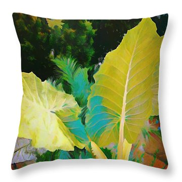 Throw Pillow featuring the painting Palm Branches by Mindy Newman
