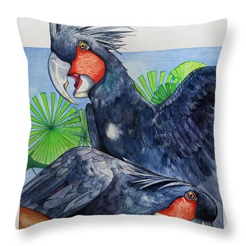 Palm Cockatoos Throw Pillow by Robert Lacy