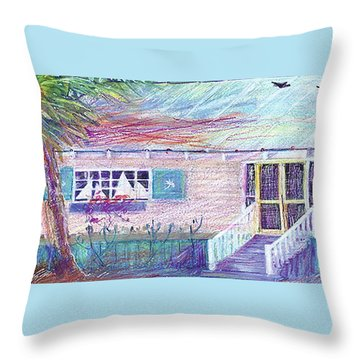 Palm Cottage Throw Pillow