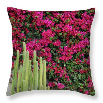 Palm Desert Blooms Throw Pillow