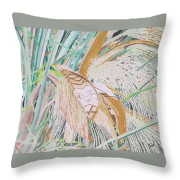Throw Pillow featuring the painting Palm Flowers by Hilda and Jose Garrancho