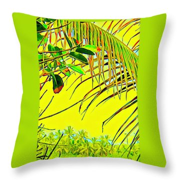 Palm Fragment In Yellow Throw Pillow