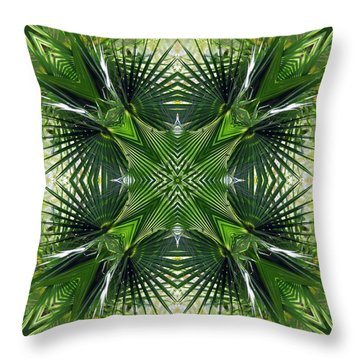 Throw Pillow featuring the photograph Palm Frond Kaleidoscope by Francesa Miller