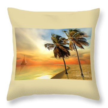 Palm Island Throw Pillow by Corey Ford