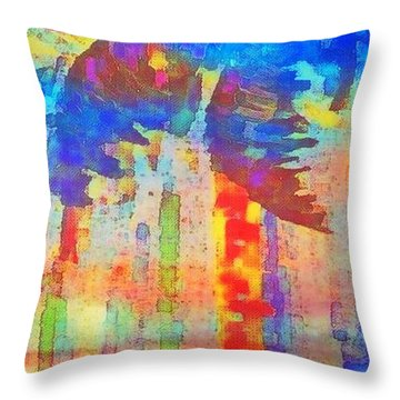 Palm Party Throw Pillow by Holly Martinson