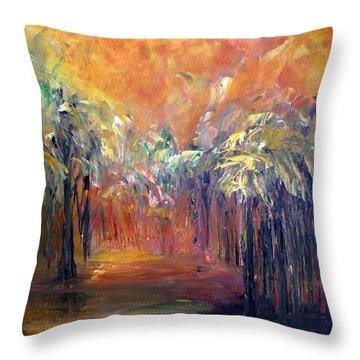 Palm Passage Throw Pillow by Roberta Rotunda