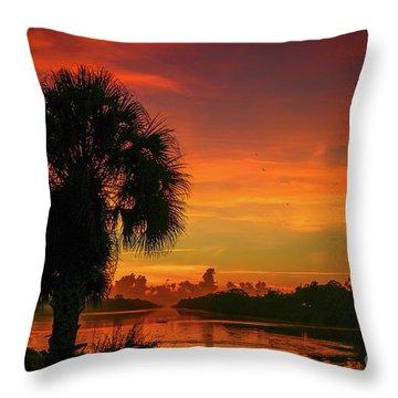 Palm Silhouette Sunrise Throw Pillow