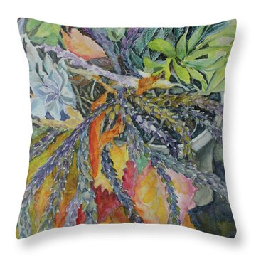 Throw Pillow featuring the painting Palm Springs Cacti Garden by Joanne Smoley