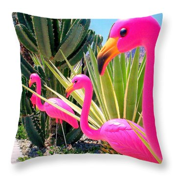 Palm Springs Flamingos 7 Throw Pillow