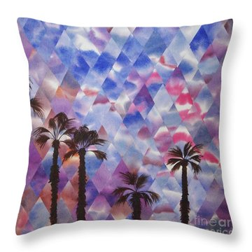 Palm Springs Sunset Throw Pillow by Jeni Bate