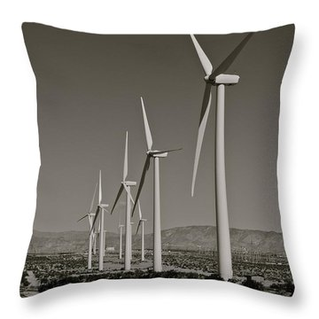 Palm Springs Windmills I In B And W Throw Pillow