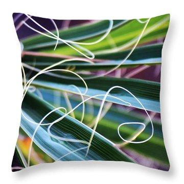 Palm Strings Throw Pillow by John Glass