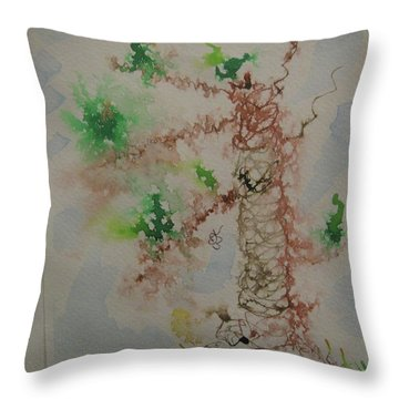 Throw Pillow featuring the drawing Palm Tree by AJ Brown