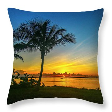Palm Tree And Boat Sunrise Throw Pillow