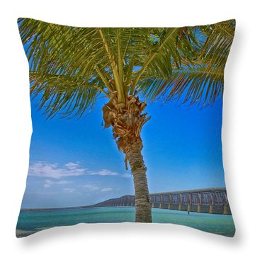 Throw Pillow featuring the photograph Palm Tree Bridge And Sand by Paula Porterfield-Izzo