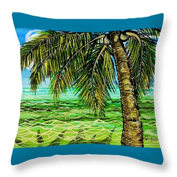 Throw Pillow featuring the painting Palm Tree by Debbie Chamberlin