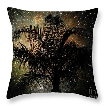 Palm Tree Fireworks Throw Pillow by David Lee Thompson