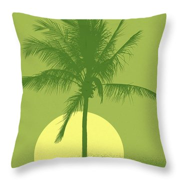 Palm Tree Green Sun Setting Throw Pillow by Philip Okoro