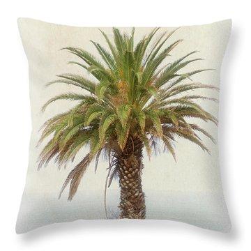 Palm Tree In Coastal California In A Retro Style Throw Pillow