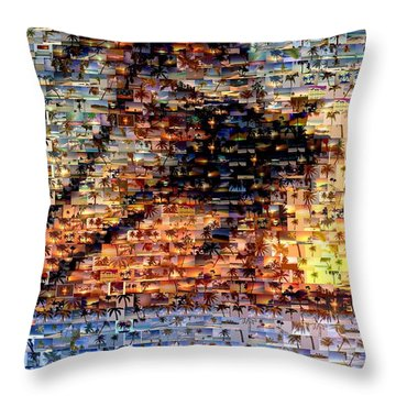 Throw Pillow featuring the mixed media Palm Tree Mosaic by Paul Van Scott
