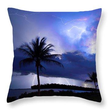 Palm Tree Nights Throw Pillow