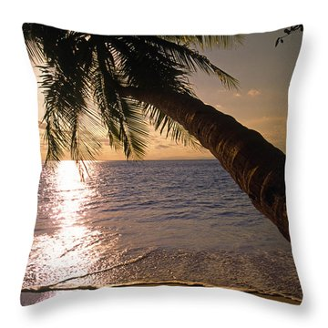 Palm Tree Over The Beach In Costa Rica Throw Pillow