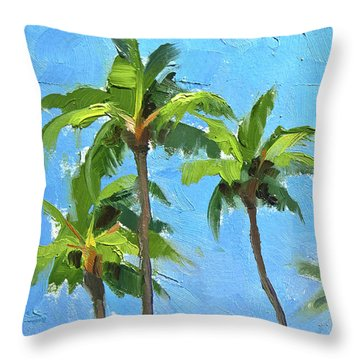 Palm Tree Plein Air Painting Throw Pillow