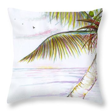 Throw Pillow featuring the digital art Palm Tree Study Three by Darren Cannell
