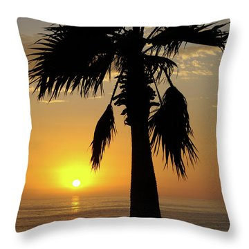 Palm Tree Sunset Throw Pillow by Jim And Emily Bush