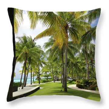 Palm Trees 2 Throw Pillow by Sharon Jones