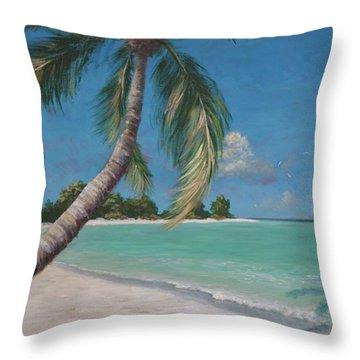 Palm Trees And Beach By Alan Zawacki Throw Pillow