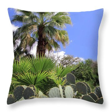 Palm Trees And Cactus Throw Pillow