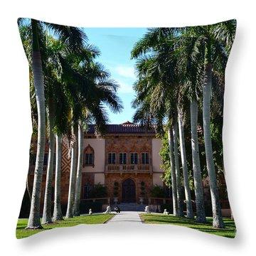 Palm Trees At Ca D' Zan  Throw Pillow by Karen Francis