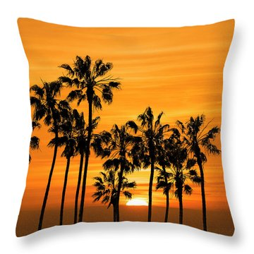 Throw Pillow featuring the photograph Palm Trees At Sunset By Cabrillo Beach by Randall Nyhof