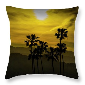 Throw Pillow featuring the photograph Palm Trees At Sunset With Mountains In California by Randall Nyhof