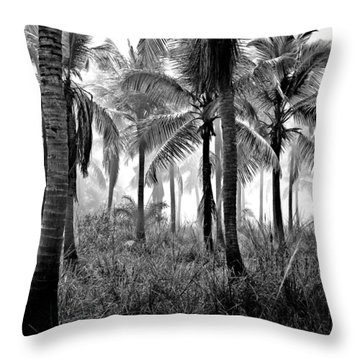 Palm Trees - Black And White Throw Pillow
