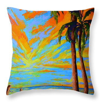 Throw Pillow featuring the painting Florida Palm Trees, Tropical Beach, Colorful Sunset Painting by Patricia Awapara
