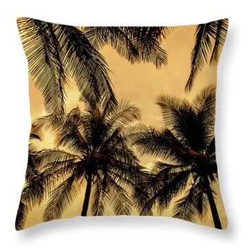 Palm Trees In Sunset Throw Pillow by Iris Greenwell