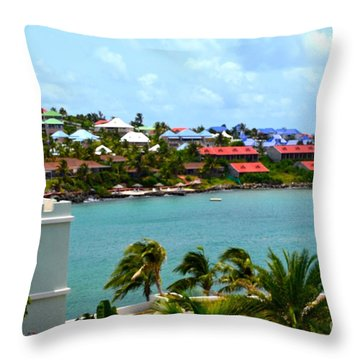 Palm Trees Of Oyster Bay Throw Pillow by Karen Francis