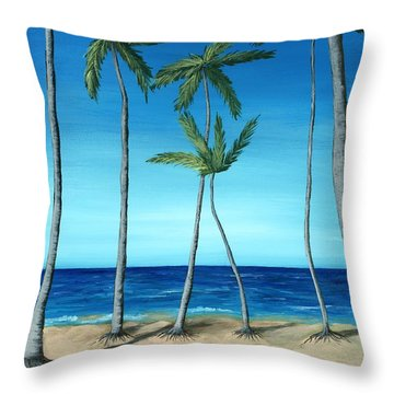 Throw Pillow featuring the painting Palm Trees On Blue by Anastasiya Malakhova