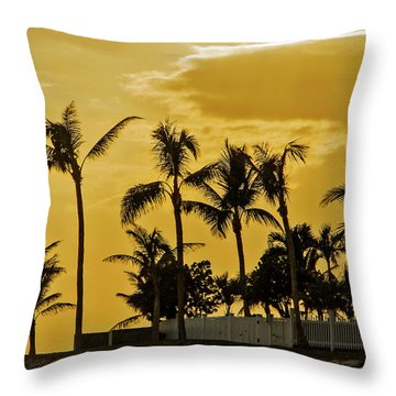 Throw Pillow featuring the photograph Palm Trees On Sunset Key At Sunset by Bob Slitzan