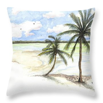 Palm Trees On The Beach Throw Pillow