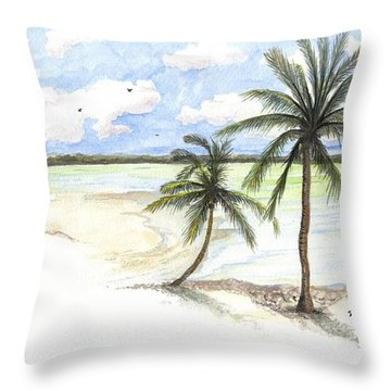 Palm Trees On The Beach Throw Pillow by Darren Cannell