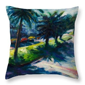 Palm Trees Throw Pillow by Rick Nederlof