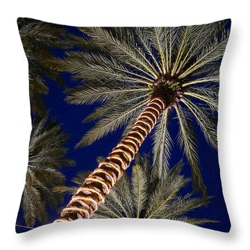 Palm Trees Wrapped In Lights Throw Pillow