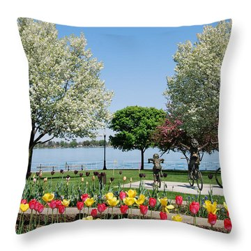 Palmer Park In Spring Throw Pillow